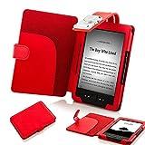 Forefront Cases Funda para Amazon Kindle (4a y 5a Generación - 2012 Modelo) Funda Carcasa Stand Case Cover con Luz de Lectura LED - Extra Robusto y Protección Completa del Dispositivo - Rojo