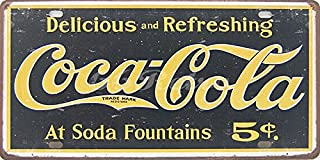 Delicious and Refresh Coca-Cola At Soda Fountains, Embossed Metal Tin Sign, Wall Decorative Sign By 66retro