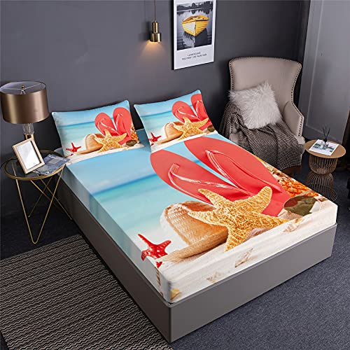 NOADREAM-Summer Tropical Zone Sandy Beach Seashells Bedding Fitted Sheet Coconut Tree Sea Wave Starfish Clear Ocean Soft Brushed Microfiber Bed Sheet Set 3pcs (A,Double:140x200x35cm)
