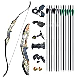 """D&Q 56"""" Archery Takedown Recurve Bow Hunting Bow and Arrow Set Adult Target"""