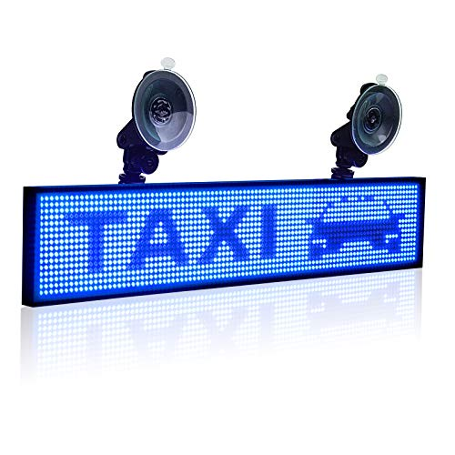 Leadleds P5 WiFi LED Car Sign Display Board Scrolling Message by Smartphone Programmable with 12V Car Cigarette Lighter and 2pcs Suction Cups (Blue)