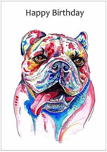 Britische Bulldogge Geburtstagskarte Geschenk, englische Bulldogge-Karten - personalisierbarer Text, Customised Text Card
