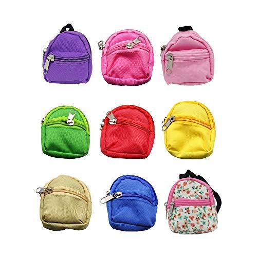 ARTSTORE Mochila de muñeca para bolsas de muñeca, 9 piezas, linda mochila con cremallera, mochila para la escuela, mini bolsa de muñeca, accesorios para muñecas