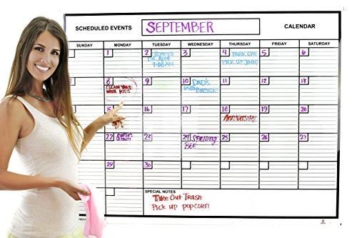 Whiteboard Dry Erase Jumbo Monthly Calendar 3' x 4' Flexible Durable Sheet Material - Best for Goals Current Events by Acme Record A Date Offer Easy to Install Stick or Tack for Home School Business
