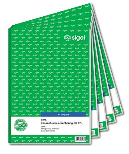 SIGEL KG429/5 Kassenbuch EDV, Steuerschiene 300, A4, 2x50 Blatt, 5er Pack