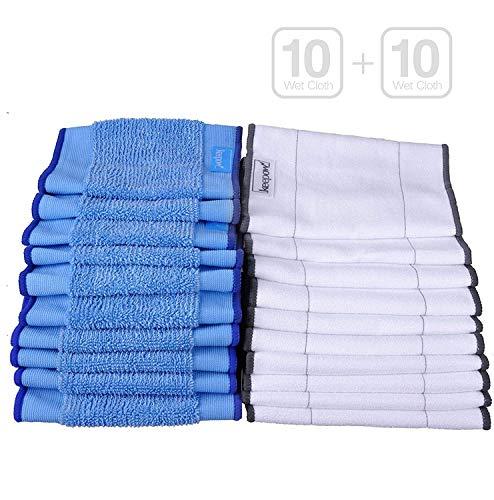 KEEPOW 20 Pack Waschbar Nass und Trocken Wischpads für iRobot Braava 390T (10 Stück Nasswischtücher + 10 Stück Trocken Wischtücher)