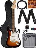 Fender Squier Affinity Stratocaster - Brown Sunburst Bundle with Frontman 10G Amplifier, Gig Bag, Instrument Cable, Tuner, Strap, Picks, and Austin Bazaar Instructional DVD