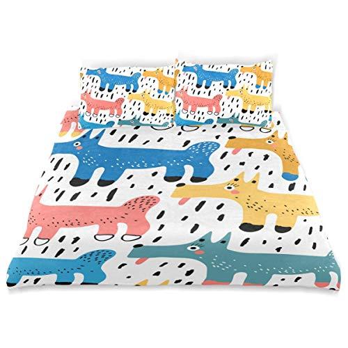 Set copripiumino Baby Seamless Pattern Cani colorati luminosi Set biancheria da letto decorativa 3 pezzi con 2 fodere per cuscini Easy Care Anti-allergico Morbido liscio