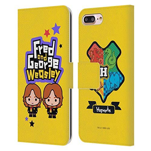 Head Case Designs Oficial Harry Potter Fred & George Weasley Deathly Hallows XXVIII Carcasa de Cuero Tipo Libro Compatible con Apple iPhone 7 Plus/iPhone 8 Plus