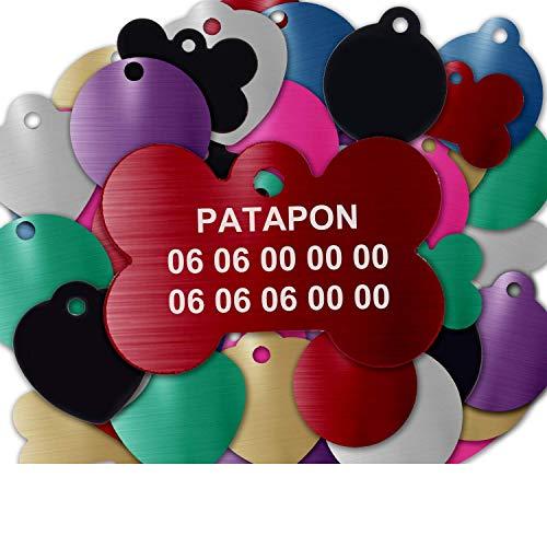 Gravure Concept Médaille pour Chien Et Chat À Personnaliser – Médaillon Gravé 31 mm - 1 à 3 Lignes – 8 Couleurs Disponibles (Rouge, Os)
