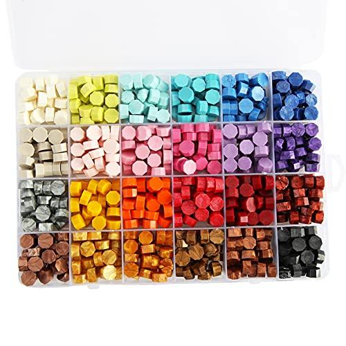 Siegelwachsperlen, 600Pcs 24 Farben Retro Boxed Seal Siegelwachs Für Hochzeitseinladungsbriefe Mehrfarbig