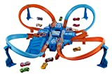 Hot Wheels Criss Cross Crash Motorized Track Set, 4 High Speed Crash Zones, 4-Way Booster, 4 Loops,...