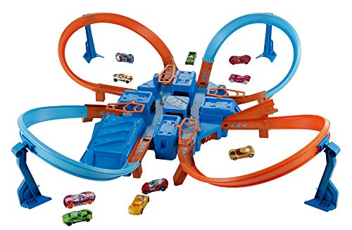 Hot Wheels Criss Cross Crash Motorized Track Set, 4 High Speed Crash Zones,...