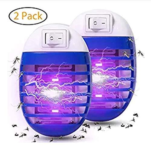 Binwwe Asesino de Mosquitos, para Habitaciones Interiores LED UV Zócalo Lámpara Antimosquitos, Color Aleatorio (2 Piezas)