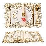 Tayis Sets de Table Lot de 6 Broderie de Fleurs Résistant à la Chaleur Antidérapant Lavable Napperons 45x30 cm pour Cuisine Salle à Manger