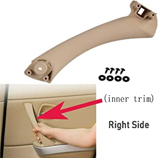 Bevinsee Car Inner Door Panel Handle Pull Trim Cover(Right) Replace E90 E91 3-Series Sedan Wagon,Beige