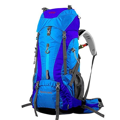 BLUE CHARM Mochila de Camping al Aire Libre Senderismo Hombres y Mujeres 60L + 5L