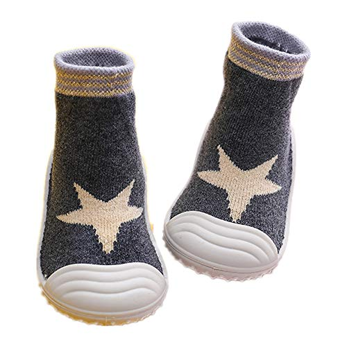 HOWELL Baby Boys Girls Sock Shoes Infant Soft Rubber Sole Shoes Anti-slip Breathable Cotton First Walking Shoes, Grey Star 5 Toddler