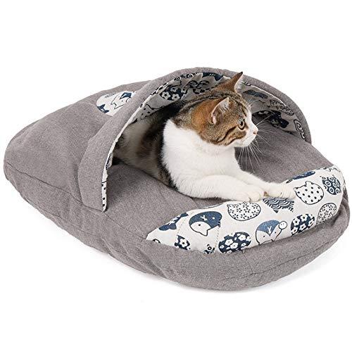 QWET Saco De Dormir para Arena para Gatos, AlgodóN PP Relleno con Tela De Lino Y AlgodóN Transpirable Arena para Mascotas con Almohadas, Adecuado para Perros Y Gatos PequeñOs,Gris