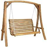 Balancelle de jardin 2-3 places - mobilier d'extérieur - bois de larix - 1,9 m