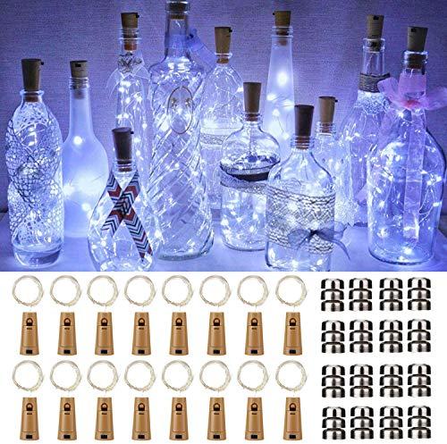 Luci per Bottiglia 16Pezzi Tappi LED a Batteria per Bottiglie, 2M 20LED Filo di Rame Led Decorative Stringa Luci da Interni e Esterni per Festa, Giardino, Natalizie, Matrimonio - Bianco Freddo