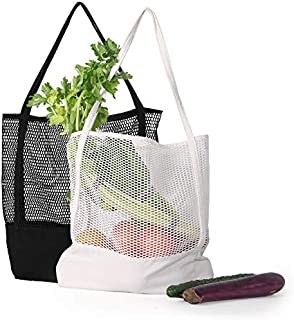 Burcan Reusable Grocery Bags,Cotton Mesh Net Stretchy Bags Shopping Bags Summer Bags Market Bags (2, White)