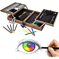 Artina Set de Pintura 127 Piezas Bologna maletín Madera óleos lápices de Colores Acuarelas acrílicos - Kit de Pintura