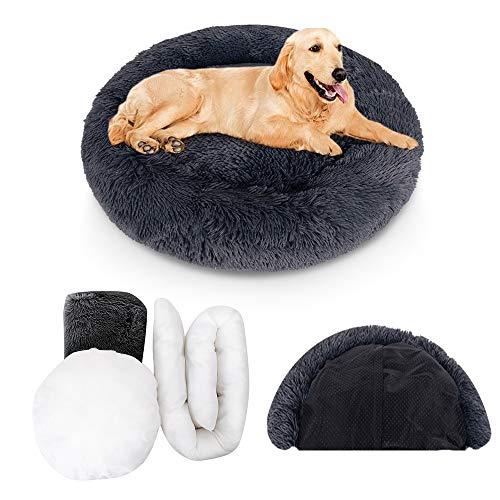 NIBESSER Cama para perros y gatos mullida, con forma de donut para mascotas, sofá para perros, gatos, cojín suave de felpa PV, cama desmontable y lavable para perros y gatos