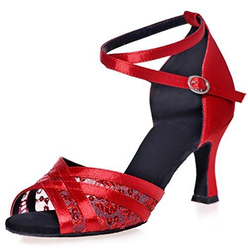 Frauen Ballsaal Latin Standard Tanzschuhe Sandalen Matt Peep Toes Schnalle Abend Glitter Jazz Platform / 7,5 cm Absatz, red, 38