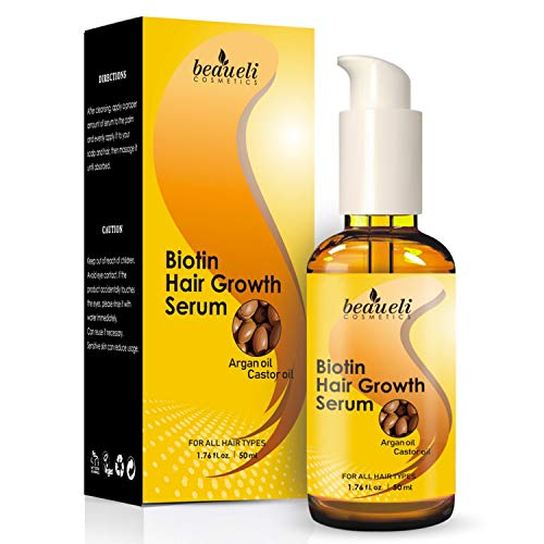 Biotin Hair Growth Serum with Castor Oil, Argan Oil - Hair Loss Prevention Treatment with fine...