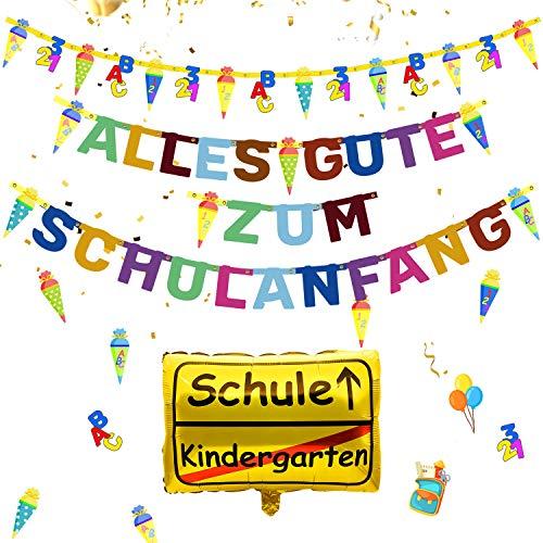 iZoeL Schulanfang Einschulung Schuleinführung Schule Deko Alles Gute Zum Schulanfang Girlande + Schultüte Banner + Folienballon + 123 ABC Konfetti für Junge Mädchen