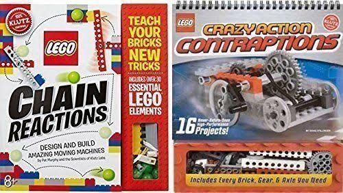 Klutz Lego Chain Reactions + Lego Crazy Contraptions, Both Lego Books and Pieces