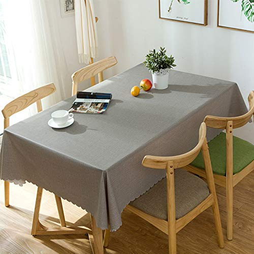YOUYUANF Tablecloth Plastic Rectangular Christmas Linen Rectangular table with heavy vinyl tablecloth wipe clean PVC tablecloth oil-proof/waterproof and stain-proofpvc pure rice140x140cm