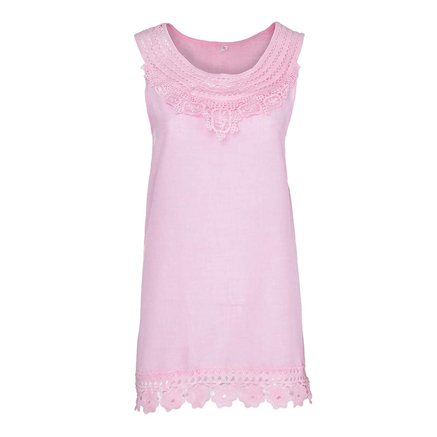 Sleeveless Tee Blouse for Women, Amiley Womens Lace Hollow Solid Short Sleeve Blouse Top Round Neck Trim T-Shirt S-5XL