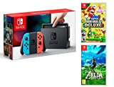 Nintendo Switch Rouge/Bleu Néon 32Go + New Super Mario Bros. U Deluxe + Zelda Breath Of The Wild