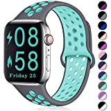 Comvin Compatible for Apple Watch Band 42mm 44mm, Soft Silicone Sport Band Breathable Replacement Wristband Compatible for iWatch Series 5/4/3/2/1, Gray/Teal S/M