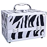 Travel Makeup Train Case,Makeup Bag,Makeup Organizer,Makeup Kit,Cosmetic Case Organizer with Adjustable Dividers for Cosmetics Makeup Brushes Toiletry Jewelry Digital Accessories (Type1 White Zebra)