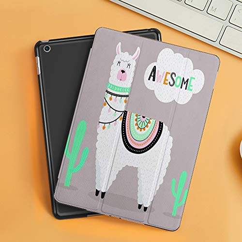 Case for iPad Air 10.2(2019/2018),Cute Awesome Llama with Cactus and Ethnic Design Elements,Cover with Auto Sleep Wake Feature, Slim Lightweight Stand Protective Case