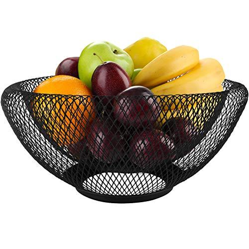 Blue Donuts Frutero de malla para almacenamiento de frutas para mostrador de cocina, cuencos decorativos para cocina, cuencos de frutas negros para mesa de centro de mesa, almacenamiento de frutas