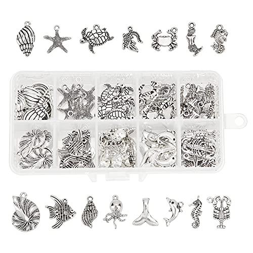 PandaHall 90pz Ciondoli in Lega in Stile Tibetano, per la creazione di Gioielli o collane, Antique Silver, Ocean Series