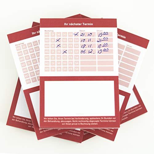 Terminblock Terminblöcke Terminzettel nächster Termin für Ärzte, Kosmetiker, Frisör & Co je Block 50 Blatt (rot, 50 Stück)