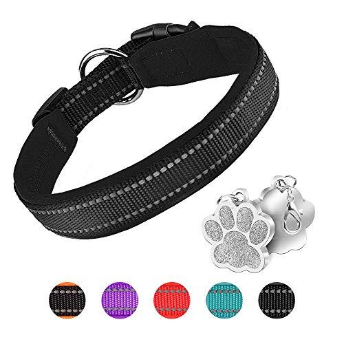 PcEoTllar Hundehalsband Verstellbare Weich Gepolstertes Neopren Nylon Hunde Halsband Reflektierend Halsband Atmungsaktives Einstellbar mit Erkennungsmarke for kleine mittel große Hunde - Schwarz-M