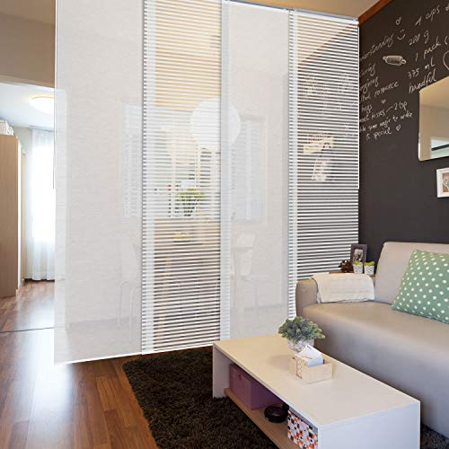"""GoDear Design Deluxe Adjustable Sliding Panel Track Blind 45.8""""- 86"""" W x 96"""" H, Extendable 4-Rail Track Track, Trimmable Natural Woven Fabric, Semi-Sheer, Eclipse"""