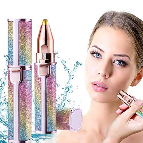 Depiladora Facial Mujer Perfilador de Cejas y Removedor Vello Facial, Depiladora Mujer 2 en 1 Rasuradora Mujer para Cejas y Removedor de Vellos Sin Dolor Cejas Labios Nariz Cuerpo (color)