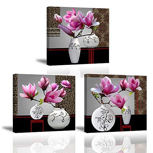 Piy Painting 3 Panel Cuadro en Lienzo de Magnolia Flor Violeta en Florero Murales Decoración Impresiones de Lienzo para Cocina Oficina Pintura Listo para Colgar Aniversario 30x30cm