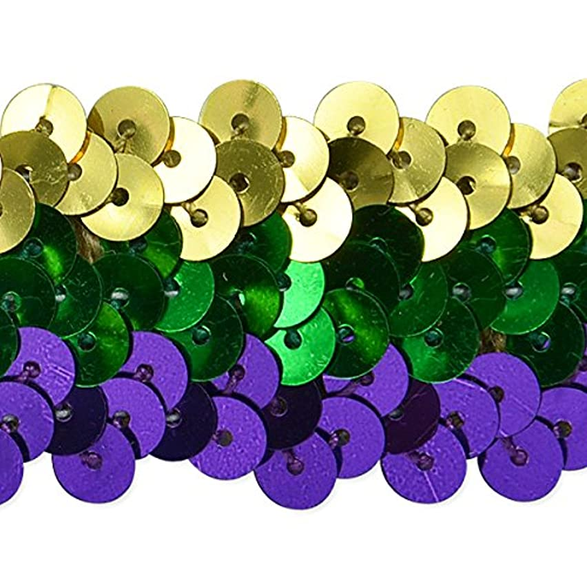 Expo International 1-1/4-Inch 3-Row Metallic Mardis Gras Stretch Sequin Trim Embellishment, 20-Yard, Multicolor