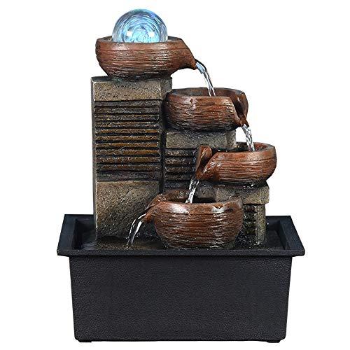 SURPRIZON Mini Waterfull Característica 4 capas pequeña fuente de agua con bola LED en la parte superior para oficina, decoración del hogar, fuente interior y exterior