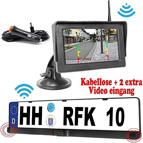 HSRpro Cámara de visión Trasera inalámbrica RFK-28 con Sensor de Aparcamiento, hasta 5 años de garantía, la cámara ya está integrada en el Soporte para matrícula para Coche, Furgoneta, autobús
