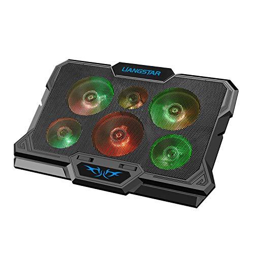 LiANGSTAR ノートパソコン冷却パッド 6つ冷却ファン 極速放熱 17インチまで対応 RGBライト 高さ調整 デュアルUSBポート