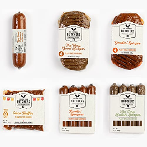 The Very Good Butchers – A Very Good Box of Plant-Based Meat   Carefully Crafted, Vegan & Minimally-processed   Curated Selection of Burgers, Sausages, Taco & Pepperoni   Makes 13+ Mouthwatering Meals
